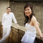 Engaged couple - bride at st Johns Cambridge