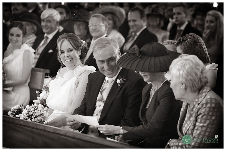Front row of a wedding congregation