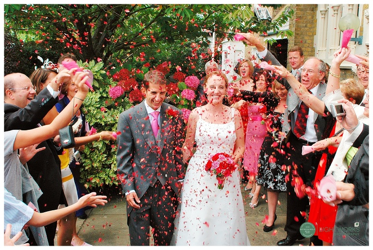 Colourful confetti at a wedding in London