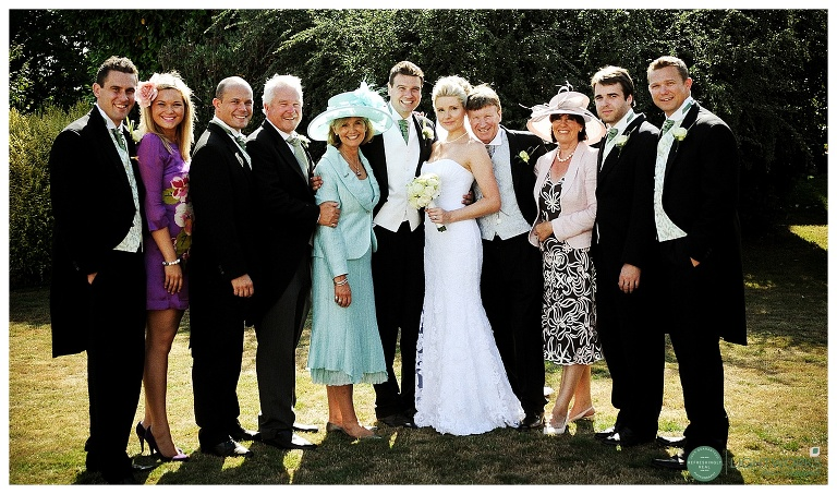 Family group photograph at a wedding