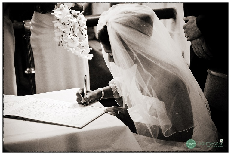 Register signing at a Cambridgeshire wedding