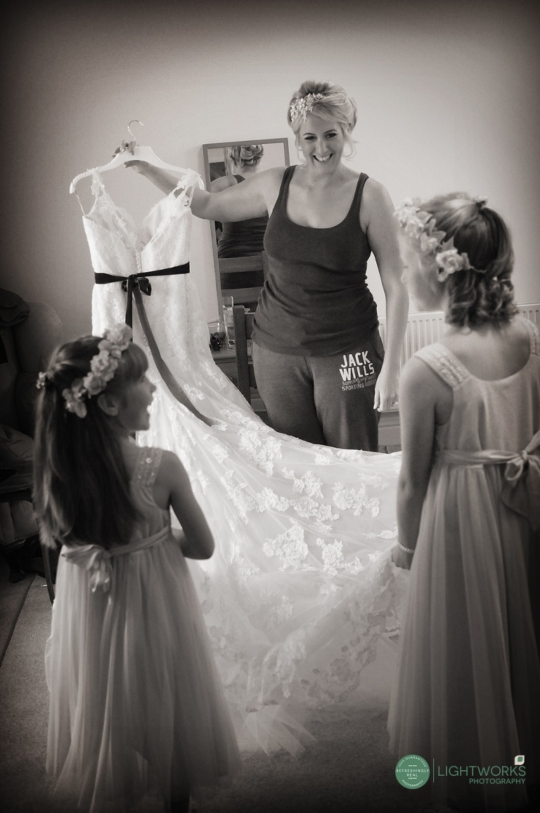 Cambridge wedding photography - bride getting ready.