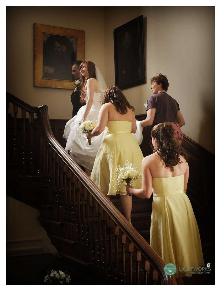 Bridal party on stair case