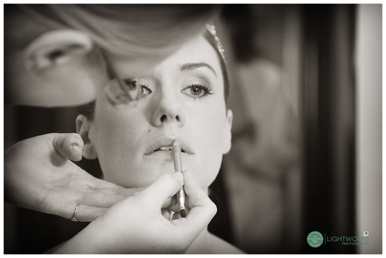 Bride having her wedding make up done - Varsity Hotel cambridge