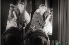 London wedding photography - Bride getting ready in mirrors.