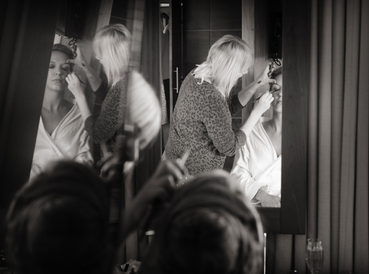 Reflections of bridal make up in mirrors