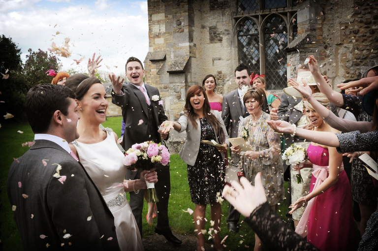 Confetti - wedding at Harlton Church Cambridgeshire
