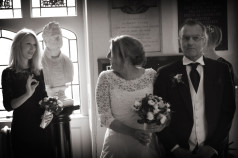 Bride gets the OK just before going down the aisle