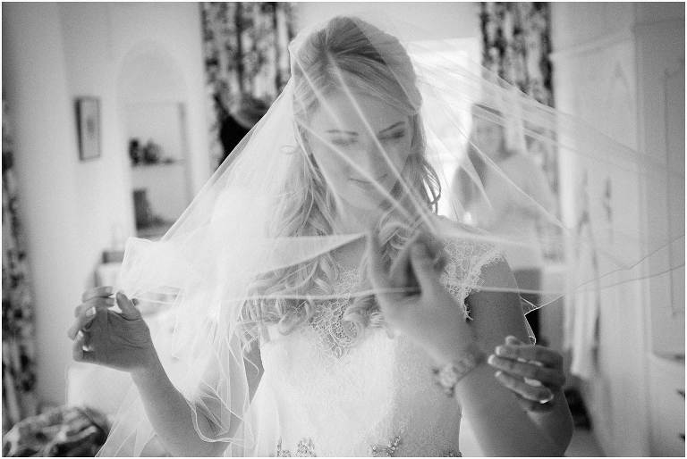 Bride and veil - Cambridge wedding