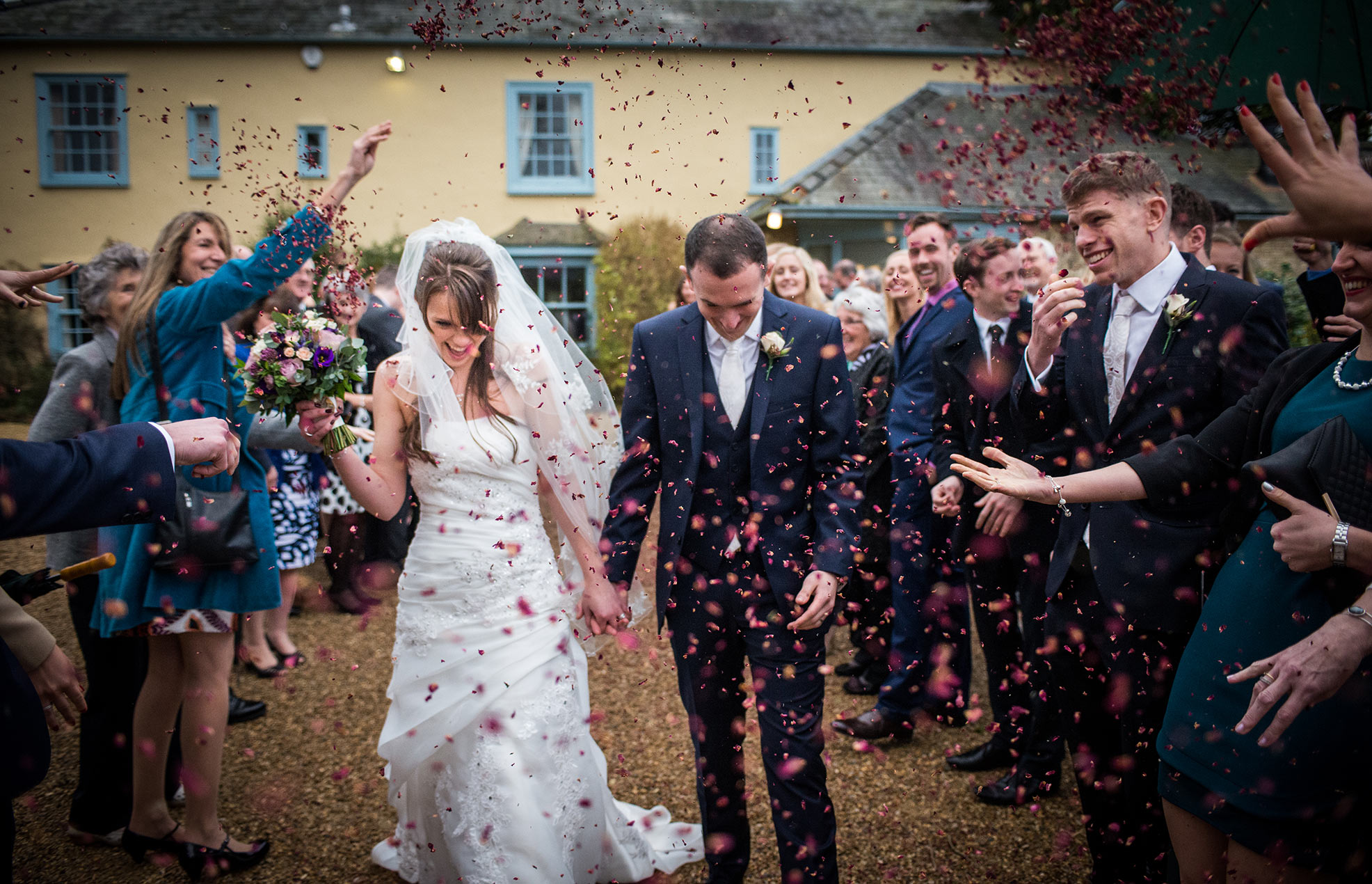 Wedding confetti at South Farm near Royston