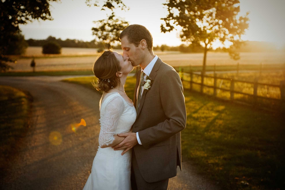 Wedding in Essex - bride and groom at sunset
