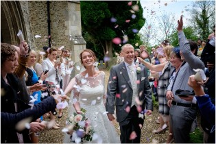 Confetti at Bourne Church Cambridgeshire