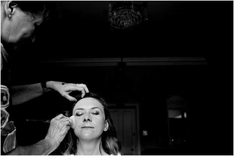 bride having make up at Downing college Cambridge