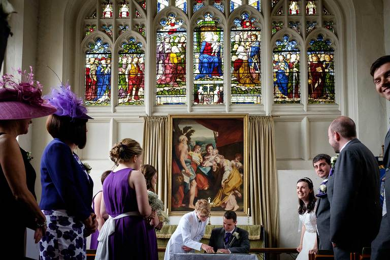 St Marys Saffron Walden, signing the register at a wedding